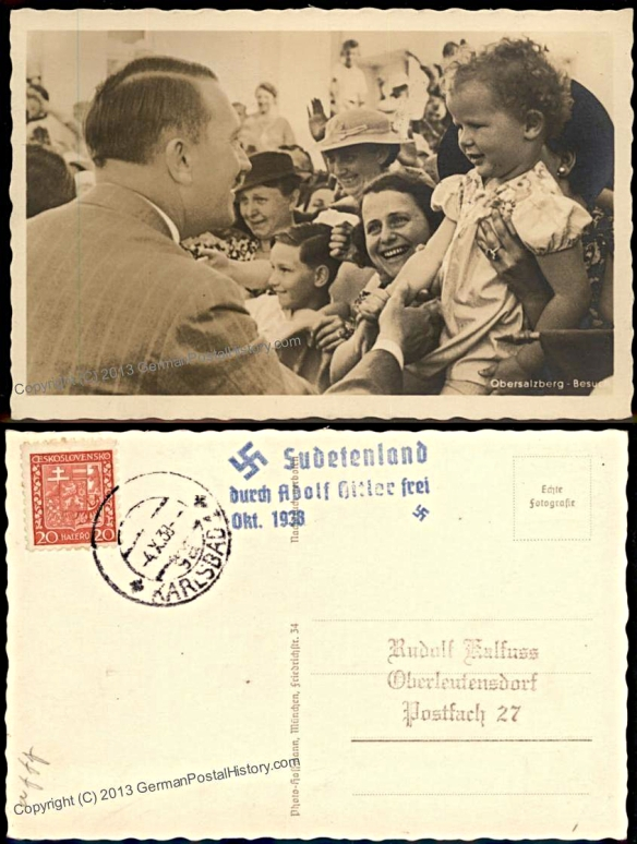 Propaganda postcard sent to Sudetenlanders during the 1938 crisis