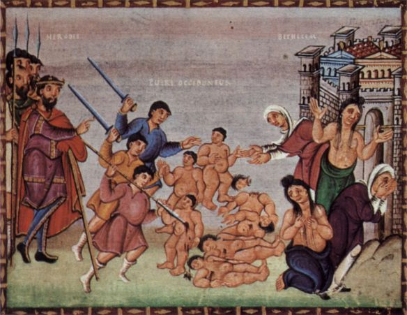 """Massacre of the innocents,"" from Codes Gertrude, 10th  century AD  (Poland)"