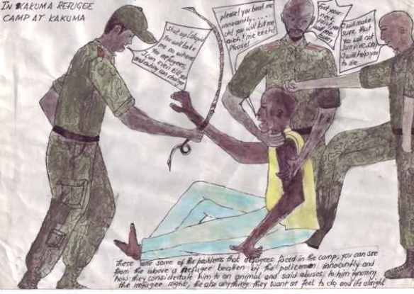 Drawing showing policemen beating a refugee in Kakuma camp: From Kanere.org