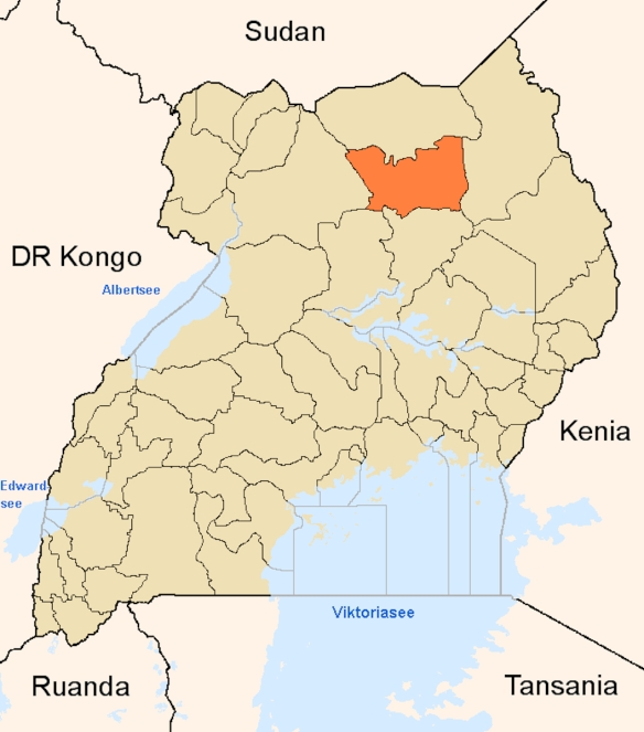 Location of Pader district in Uganda