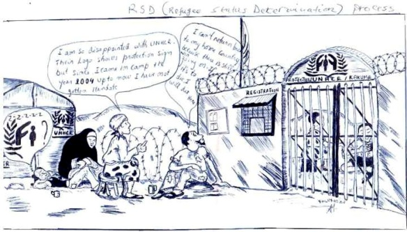 "Cartoon on RSD from Kakuma refugee camp, at kanere.org. Woman: ""I am so disappointed with UNHCR. Their logo shows protection sign but since I came in camp the year 2004 I still have not gotten mandate [papers]."" Man: ""I can't return to my home country because there is still war going on. If it's to die I will die here."""
