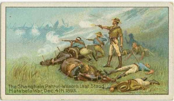 "Cigarette Cards, ""Heroic Deeds,"" UK, 1890s. on Decmeber 4, 1893, rebel Ndebele soldiers near Bulawayo  in present-day Zimbabwe wiped out an entire British detachment under   Major Allan Wilson. From http://exhibitions.nypl.org/africanaage/essay-resistance.html"