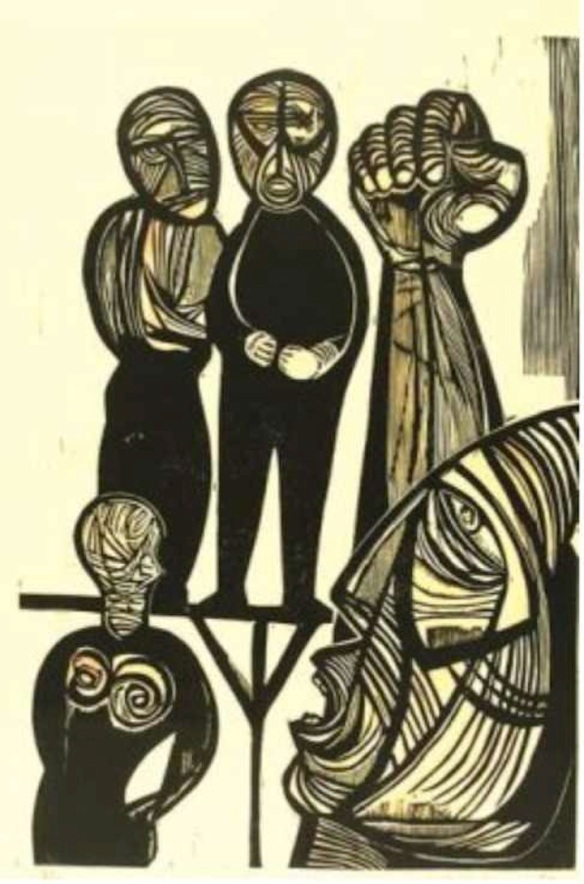 Untitled, by Cecil Skotnes (1926-2009),. Woodcut, 1980.