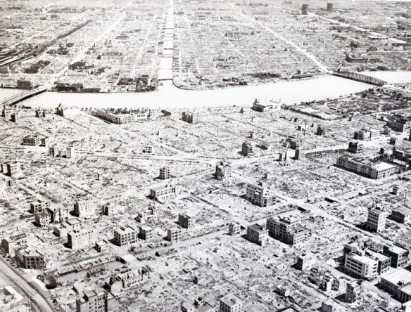 Part of central Tokyo after the Operation Meetinghouse air raid of March 9-10, 1945 later estimated to be the single most destructive bombing raid in history