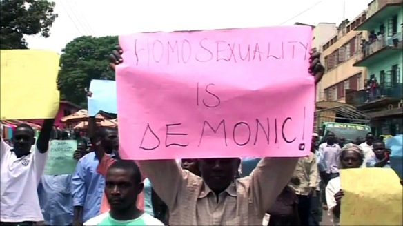 Demonstrator at 2012 anti-homosexuality protest in Kampala, from www.pbs.org