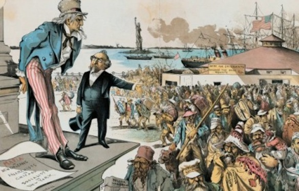 I told you to build that wall: Anti-immigration cartoon from 1891