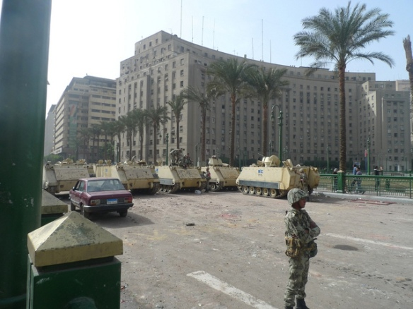 Soldiers in front of the Mugamma in Midan Tahrir, January 2011, by Joseph Hill