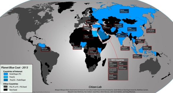 Blue Coat Planet: Map of Blue Coat's surveillance spoor, from Citizen Lab