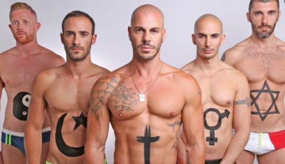 Men of Israel: a 2013 Pride poster by Tel Aviv's Evita Bar shows Israel's gay world as a paradigm of peaceful, macho diversity. The religion represented by the second man from the R is unknown to me.