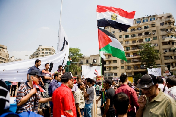 Palestinian and Egyptian flags in  Midan Tahrir, September 9, 2011, at a protest against military trials and the rule of the Supreme Council of the Armed Forces. Photo by Hossam el-Hamalawy, at www.arabawy.org