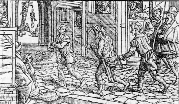 Sheriffs whipping a beggar out of town, from 16th-century English woodcut