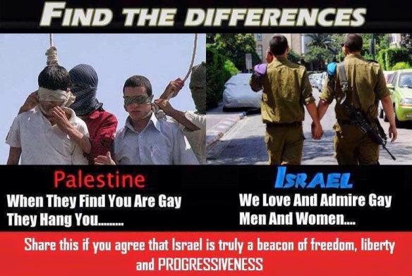 Israeli propaganda meme. The picture on the L shows Iranians, not Palestinians, and they aren't gay. (See ) The picture on the R