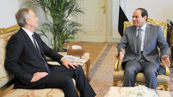 President Sisi discusses Gaza, Israel, and business with Tony Blair on July 12, 2014, two days afterhyyyy