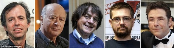 Among the dead at Charlie Hebdo:  Deputy chief editor Bernard Maris and cartoonists Georges Wolinski, Jean Cabut (aka Cabu), Stephane Charbonnier, who was also editor-in-chief, and Bernard Verlhac (aka Tignous)