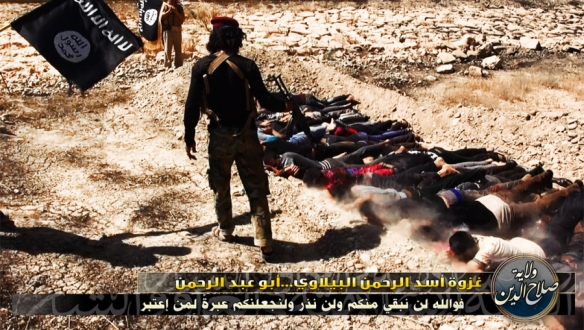 Photo of a mass killing of Shi'a captives after the fall of Mosul, posted on ISIS Twitter accounts, June 2014