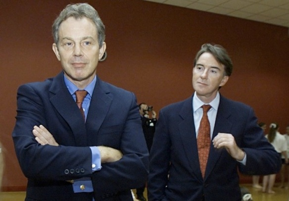 Blair and Mandelson in happier times: Peter primps himself while Tony plays hard-to-get