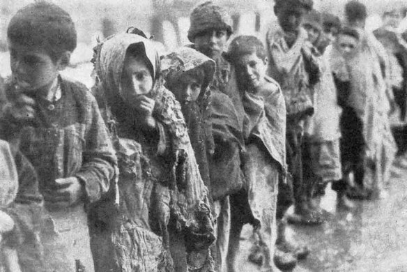 Child refugees from massacres by Turkish troops: Photo from the Armenian Genocide Museum-Institute in the Republic of Armenia