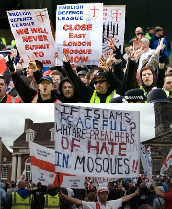 Hate preachers. Top: English Defense League demo against the East London Mosque (photo: Jess Hurd/Reportdigital.co.uk). Bottom: English Defense League march in Telford, August 2011 (photo: MirrorImage/Demotix)