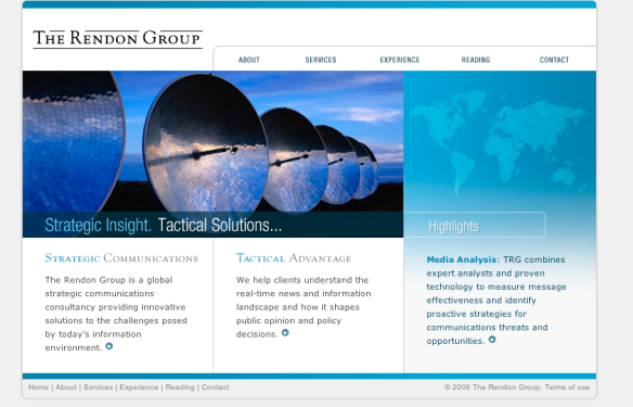 Strategic insight. Tactical solutions. Useful lies: Website of the Rendon Group