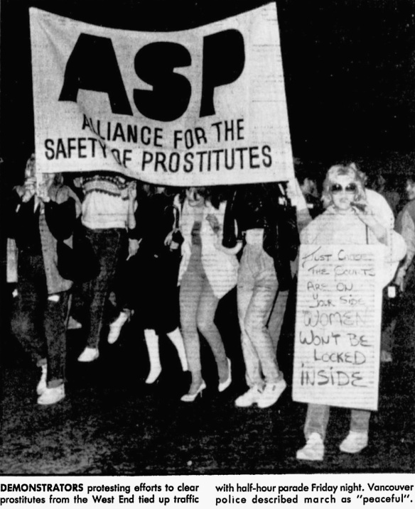 Sex workers protest against violence, Vancouver, Canada, 1984
