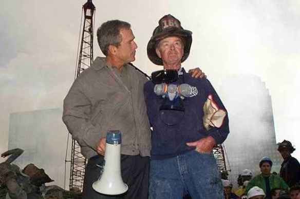Bullshit, with bullhorn: Bush in New York City, September 14, 2001