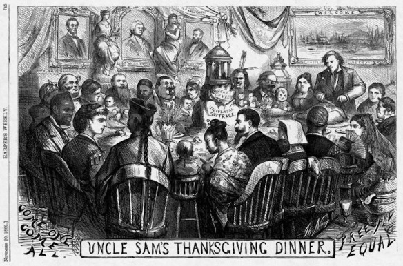 "Thomas Nast, ""Uncle Sam's Thanksgiving Dinner,"" Harper's Weekly, November 1869. An integrated if slightly awkward dinner party sits down to celebrate equality before the law and universal suffrage."