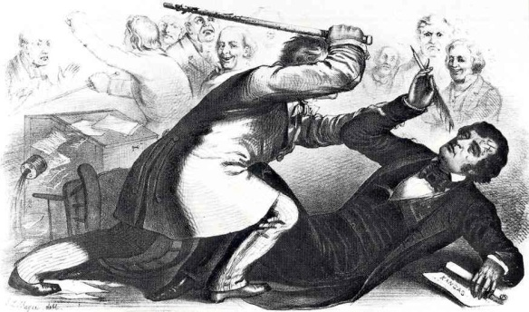 Equality at bay: South Carolina Congressman Preston Brooks canes Charles Sumner on the Senate floor, 1856, from a contemporary engraving