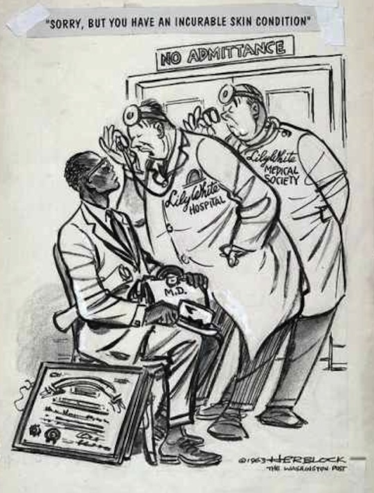 "Public accommodations II: ""Sorry, but you have an incurable skin condition."" Herblock cartoon, Washington Post, 1963"