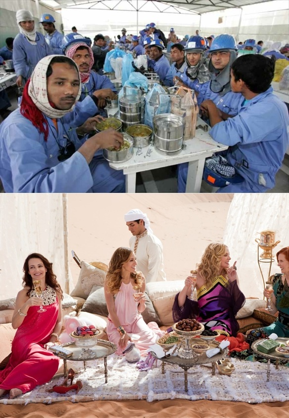 Bad migrants vs. good: Asian construction workers in Qatar (top); Sex and the City 2 girls in Abu Dhabi (actually filmed in Morocco; bottom, if you didn't guess).