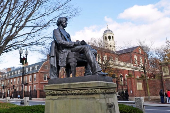 Back to Harvard, face to the future: Sumner's statue in the Square