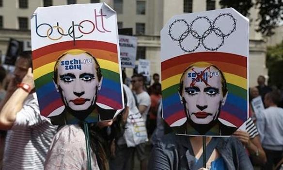 Brief shining boycott: Activists protest Russian homophobia in central London, December, 2013. Photo: Lefteris Pitarakis/AP Dec 2013