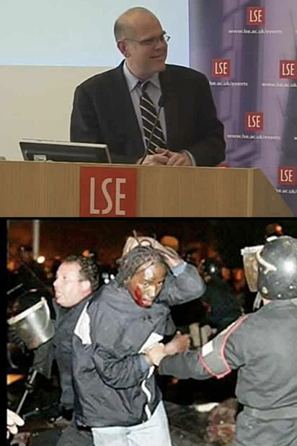 Bogus vs. real migrants: Caldwell, a US citizen, in London in 2014 (top); wounded Sudanese refugee arrested by Egyptian police, December 30, 2005 (bottom)