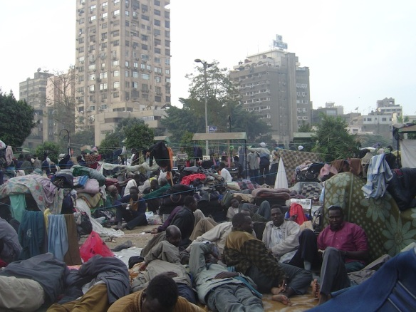 Refugee protest camp outside the UNHCR offices in Cairo, October 2005. Photo by Vivian Salama, Daily Star