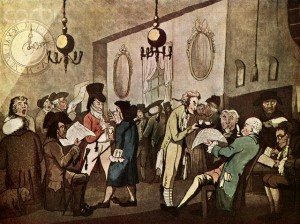 Structural transformation of the public sphere:  A London coffee house, by William Holland, 1798
