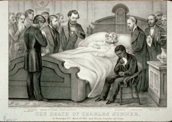 "Contemporary engraving of ""The Death of Charles Sumner,"" complete with weeping African-American seated by his foot"