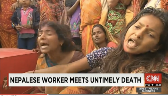In a Nepali village, family members mourn over the coffin of a migrant worker returned from Qatar. On average, a Nepali migrant dies in Qatar every two days. From http://edition.cnn.com/2015/03/09/asia/qatar-nepali-migrant-workers-deaths/