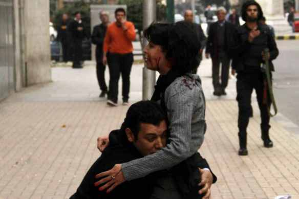 Shaimaa el-Sabbagh dying in Tahrir Square after police shot her, Cairo, January 24, 2015