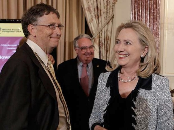 Inequality? Two of us are equal, and the third, she's trying. Hillary Clinton and billionaire Bill Gates, with billionaire Howard Buffett (Warren's son) between them