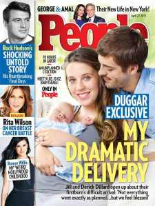 The next generation; Duggar daughter describes her delivery to People magazine, while Rock Hudson looks on in alarm