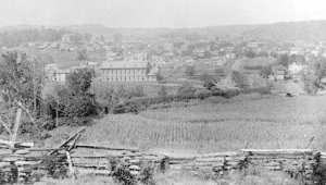 Caldwell, county seat of Noble County, Ohio, in a photograph from ca. 1886-88