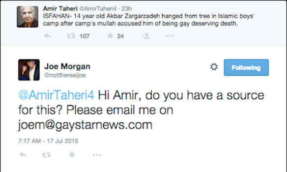 Morgan to Taheri tweet