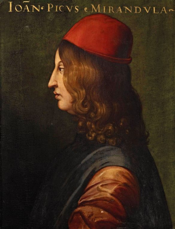 Not, however, a dignified hat: Pico della Mirandola by Cristofano dell'Altissimo (1525-1605)