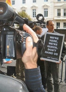 Mr. DeMille? Mr. DeMille? Q Television films Peter Tatchell at a demo over the Mashhad case, 2005. Photo by UK Gay News
