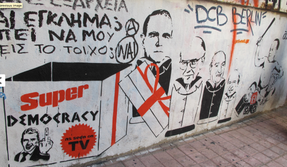 Anarchist graffiti in Athens' Exarchia district depicts a history of state corruption. Photo by Alex Zaitchik at http://exiledonline.com/letter-from-athens-inside-the-greek-crisis-with-anarchists-and-the-radicalized-ex-middle-class/