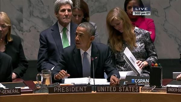 Obama chairs Security Council meeting on ISIS and global terrorism, September 24, 2014, with Samantha Power behinf him looking studious, and John Kerry.