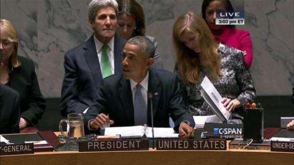 Obama chairs Security Council meeting on ISIS and global terrorism, September 24, 2014, with Samantha Power behinf him looking studious, and John Kerry looking badly embalmed. Screen capture by