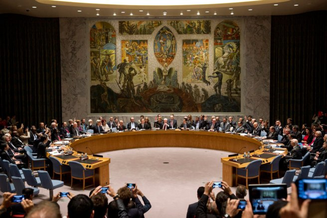 The UN Security Council chamber. The weird mural by Per Krogh depicts a phoenix rising from the ashes, and figures in various conspiracy theories as a product of Kabbalists, Illuminati, or Satan