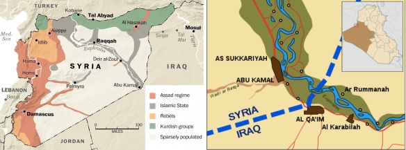 Abu Kamal in relation to Syria and Iraq. L: Map of areas of control in Syria as of July 2014 (Institute for the Study of War, US); R: Map of the Syria-Iraq border at the Euphrates River (Wikileaks)