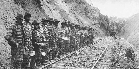 Chain-gang prisoners working on a railroad, Asheville, NC, undated photo (late 19th or early 20th century)