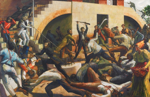 Storming of the courthouse during the Morant Bay Rebellion, by Barrington Watson (1931 -). British authorities slaughtered rebels protesting the use of criminal law to preserve the structures of slavery three decades after its ostensible end. Jamaica celebrated the 150th anniversary of the Rebellion last month.